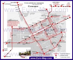 Карта маршрутов транспорта Солигорска
