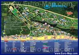 Подробная туристическая карта Албены с отелями