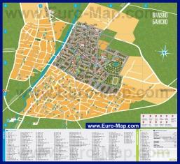 Подробная туристическая карта Банско с отелями