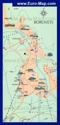 Туристическая карта Боровца с отелями