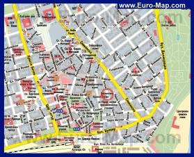 Карта центра города Бургас с достопримечательностями