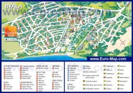 Подробная карта курорта Бяла с отелями