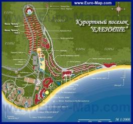 Подробная карта Елените с отелями