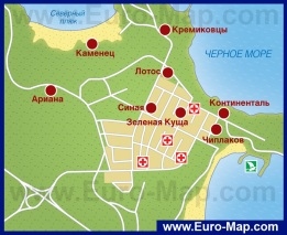 Карта Китена с отелями