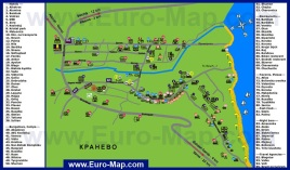 Подробная карта Кранево с отелями