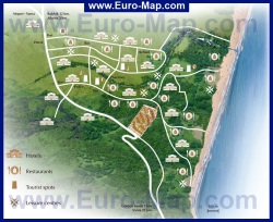 Туристическая карта курорта Кранево