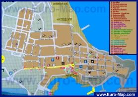 Туристическая карта Приморско с отелями