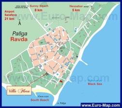 Карта Равды с отелями