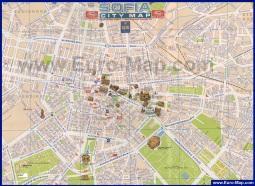 Туристическая карта Софии с достопримечательностями