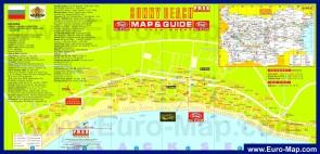 Туристическая карта курорта Солнечный берег с отелями