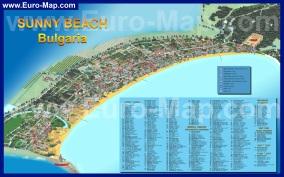 Подробная карта Солнечного берега с отелями