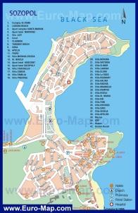 Карта отелей Созополя