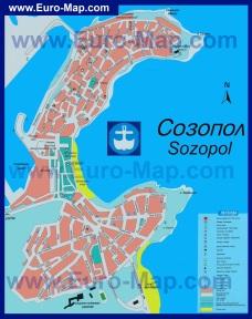 Подробная карта Созополя с достопримечательностями