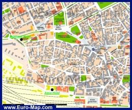 Карта центра города Варна с достопримечательностями