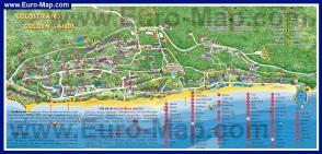 Карта курорта Золотые Пески с отелями
