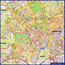Карта центра города Брно с достопримечательностями