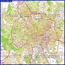 Подробная туристическая карта Брно
