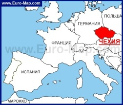 Чехия на карте Европы