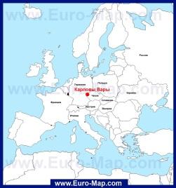 Карловы Вары на карте Европы