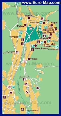 Карта отелей курорта Марианские Лазни