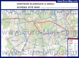 Подробная карта города Оломоуц с транспортом
