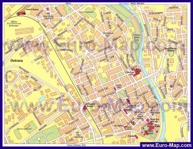 Подробная карта города Острава с достопримечательностями