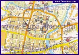 Туристическая карта Пльзени с достопримечательностями