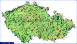Туристическая карта Чехии с достопримечательностями и курортами