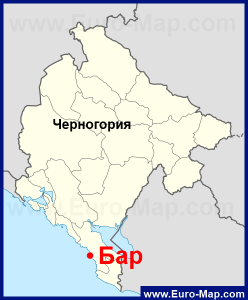 Город Бар на карте Черногории