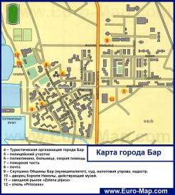 Карта города Бар (Черногория)