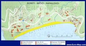 Карта города Бечичи (Черногория)