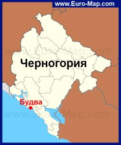 Будва на карте Черногории