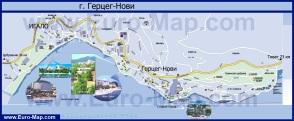 Подробная карта Герцег-Нови с отелями