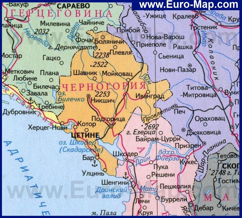Картинки по запросу карта Хорватия-Черногория