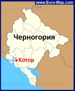 Котор на карте Черногории