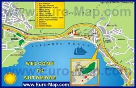 Туристическая карта курорта Сутоморе с отелями