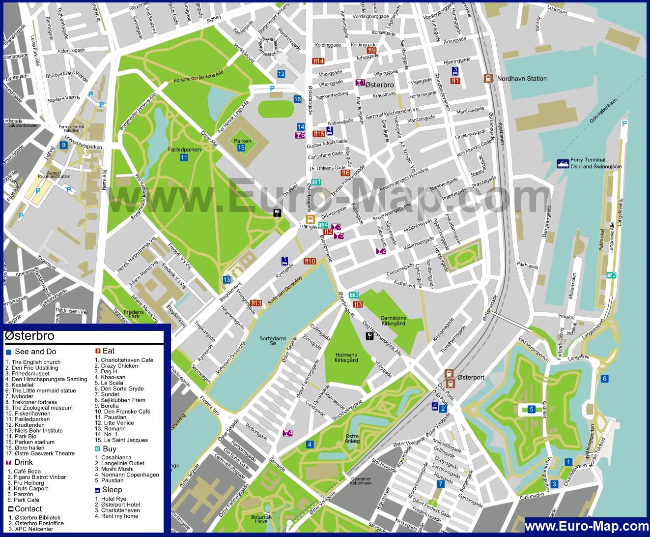 Карта Копенгагена Достопримечательностями