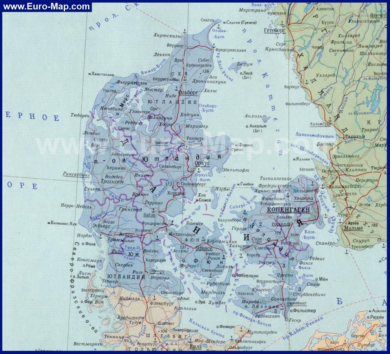 Карта дании на русском языке