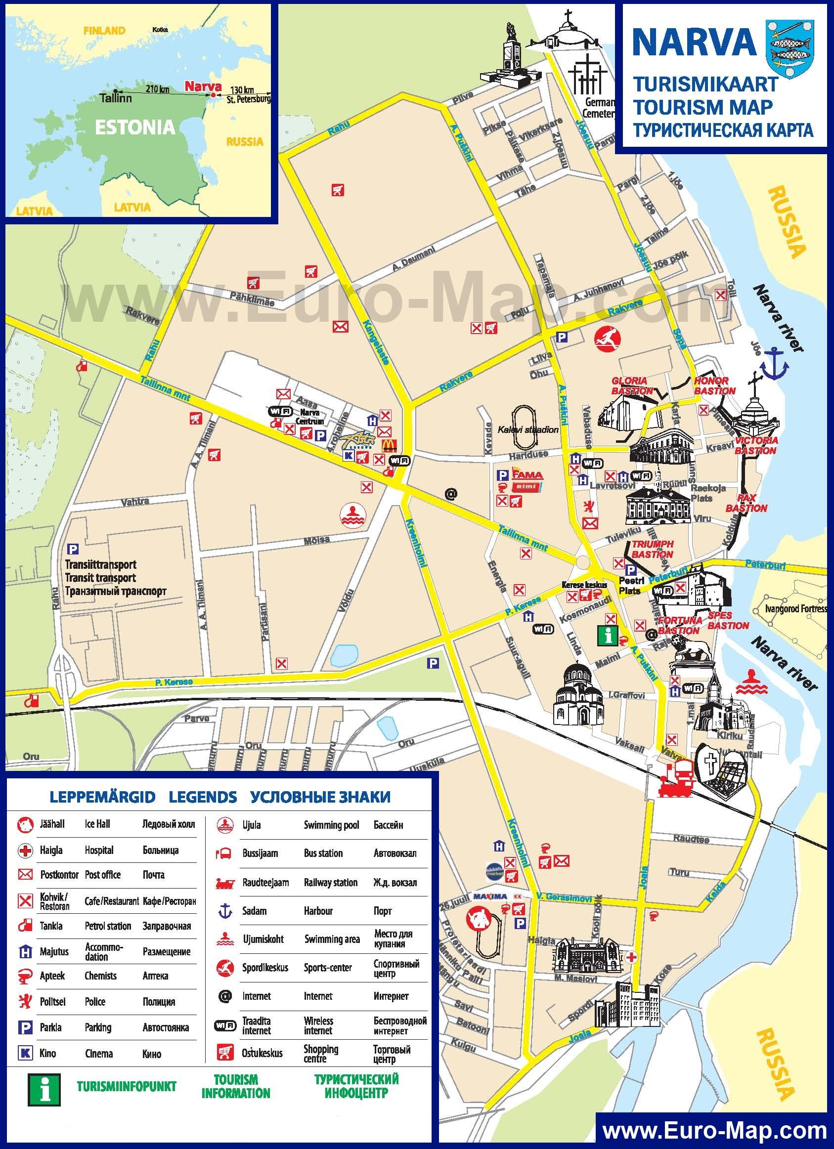 Туристическая карта города нарвы