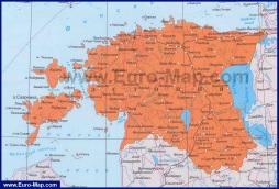 Подробная карта Эстонии на русском языке