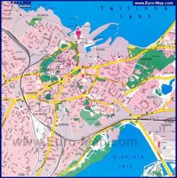 Подробная карта Таллина с улицами и отелями