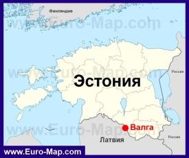 Валга на карте Эстонии