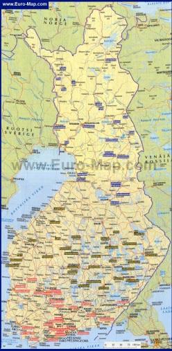 Горнолыжная карта Финляндии с курортами