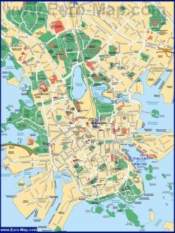 Карта центра Хельсинки