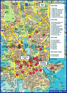 Подробная карта Хельсинки с достопримечательностями