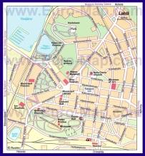 Подробная карта города Лахти с достопримечательностями