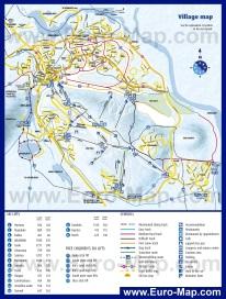 Подробная туристическая карта Леви с отелями