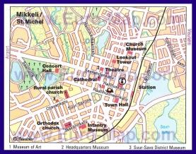 Туристическая карта Миккели с достопримечательностями