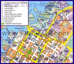 Подробная карта города Оулу с отелями