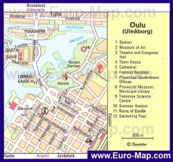 Туристическая карта Оулу с достопримечательностями